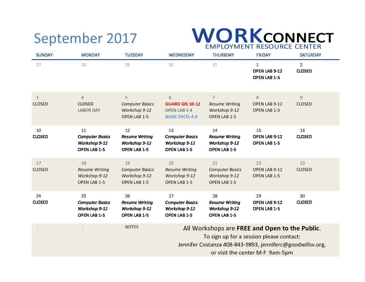 September Workshop Calendar Goodwill Of Silicon Valley